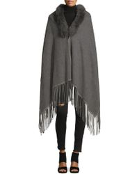 La Fiorentina - Dyed Fox Fur Collared Wool Cape - Lyst
