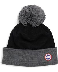 2cd1911a7 Lyst - Canada Goose Contour Ribbed Knit Wool Beanie in Black