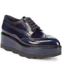 Prada - Lace-up Leather Flatform Oxfords - Lyst