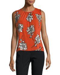 Calvin Klein - Sleeveless Floral Pleated Blouse - Lyst