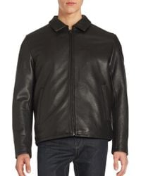 Vince Camuto - Solid Leather Jacket - Lyst