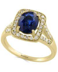 Effy - Diamond, Ceylon Sapphire & 14k Yellow Gold Halo Ring - Lyst