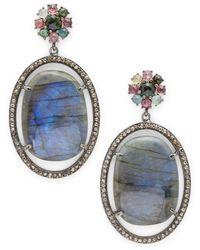 Bavna - Tourmaline, Labradorite & Sterling Silver Drop Earrings - Lyst