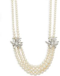 Ben-Amun - Multi-row Faux Pearl And Swarovski Crystal Necklace - Lyst
