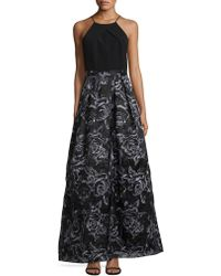 Adrianna Papell - Floral Halter A-line Gown - Lyst