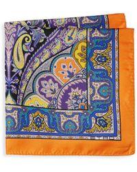 Etro - Multicolour Paisley Silk Pocket Square - Lyst