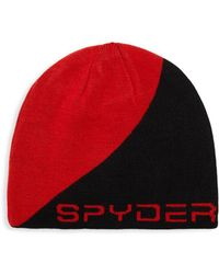 Spyder - Diagonal Colorblock Logo Beanie - Lyst