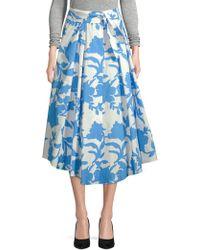 MILLY - Jackie Floral Midi Skirt - Lyst
