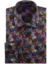 Bertigo Leaf Print Dress Shirt - Black