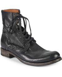 John Varvatos - Six-o-six Leather Combat Boots - Lyst