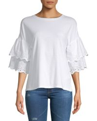 Beach Lunch Lounge - Tiered Eyelet Cotton Blouse - Lyst