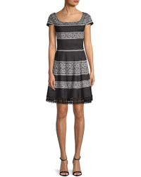 Donna Ricco - Printed Short-sleeve Fit-&-flare Dress - Lyst