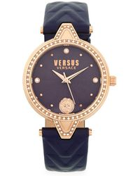 Versus - Stainless Steel, Swarovski Crystal & Leather-strap Watch - Lyst