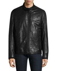 Andrew Marc - French Supple Leather & Faux Shearling Racer Motorcycle Jacket - Lyst