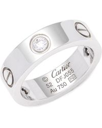 Estate Fine Jewelry - Vintage Cartier Diamond & 18k White Gold Band Ring - Lyst
