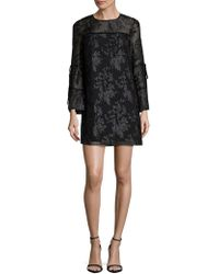 Laundry by Shelli Segal - Floral Jacquard Bell Sleeve Dress - Lyst