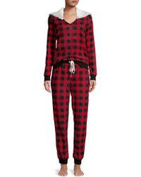 Jane And Bleecker - Two-piece Faux Fur-trimmed Pyjama Set - Lyst