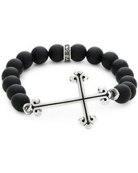 King Baby Studio - Onxy Bead Cross Bracelet - Lyst