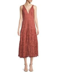 Dress the Population - Madelyn Plunging Lace Midi Dress - Lyst