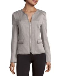 Basler - Patterned Cotton-blend Zip-front Jacket - Lyst