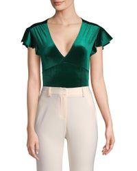 Mimi Chica - Velvet Flutter-sleeve Bodysuit - Lyst