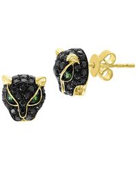 Effy - 14k Yellow Gold, Black Diamond & Tsavorite Panther Stud Earrings - Lyst