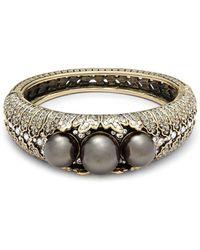 Heidi Daus | Tri Faux Pearl And Crystal Bangle Bracelet | Lyst