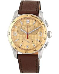 Victorinox - Stainless Steel & Leather Strap Chronograph Watch - Lyst