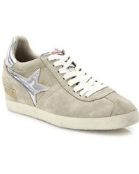Ash - Guepard Bis Suede & Metallic Leather Wedge Trainers - Lyst