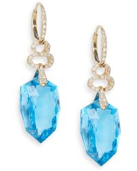 Effy - Blue Topaz, 0.55 Tcw Diamond & 14k Yellow Gold Drop Earrings - Lyst