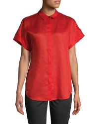 Lafayette 148 New York - Antonella Short-sleeve Button-down Shirt - Lyst