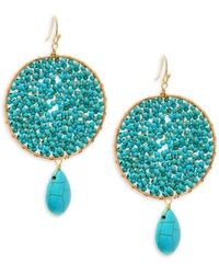 Panacea - Crystal And Turquoise Beaded Drop Earrings - Lyst