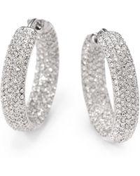 "Adriana Orsini - Pavà Crystal Rhodium-plated Inside-outside Hoop Earrings/0.75"" - Lyst"