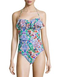 La Blanca - Ruffled Halterneck One-piece Swimsuit - Lyst