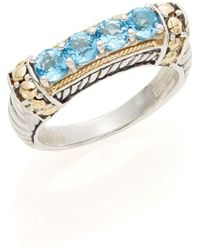 Effy - 925 Blue Topaz, Sterling Silver & 18k Yellow Gold Ring - Lyst