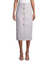 English Factory Button-down Cotton Check Midi Skirt