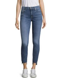 7 For All Mankind - High Waist Stepped Hem Skinny Jeans - Lyst