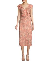 Love Sam - Floral Ruched Dress - Lyst
