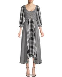 Free People - Puffed-sleeve Checker Peasant Dress - Lyst
