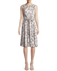 Jones New York - Printed Leaf Fit-and-flare Dress - Lyst