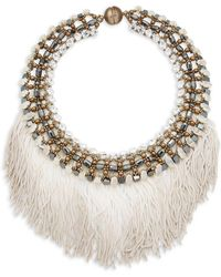 Tataborello - Crystal Studded Fringed Necklace - Lyst