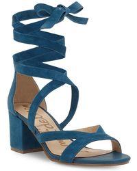 Sam Edelman - Sheri Ankle Tie Block Heel Sandals - Lyst