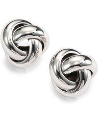 Saks Fifth Avenue - Sterling Silver Knot Stud Earrings - Lyst