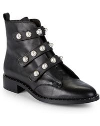 Pure Navy - Suesta Embellished Leather Booties - Lyst