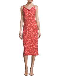 ABS By Allen Schwartz - Midi Floral Slip Dress - Lyst