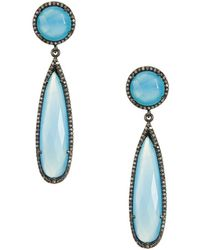 Adornia - Gillian Blue Gemstone & Diamond Drop Earrings - Lyst