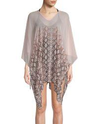 Calvin Klein - Sheer Printed Side-tie Caftan - Lyst
