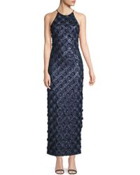 Belle By Badgley Mischka - Embroidered Floral Halter Dress - Lyst
