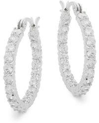 """Saks Fifth Avenue - Crystal Hoop Earrings/1"""" - Lyst"""