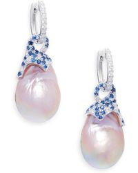 Tara Pearls - Pink Freshwater Pearl, Diamond, Sapphire And 14k White Gold Earrings - Lyst